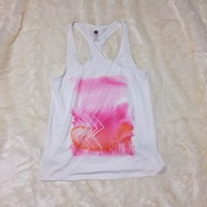 Roxy White and Pink Racerback Tank